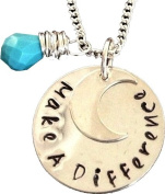 Make a Difference Sterling Silver necklace With Moon charm-Religious gift-