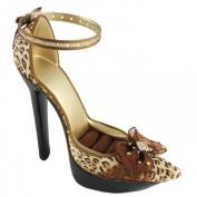 Cheetah Print Slingback Shoe Combination Display Brown