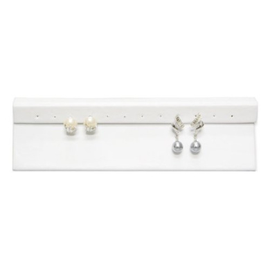 3pcs White Faux Leather Flat Panel Earring Stand 2.75H Jewellery Holder Stand