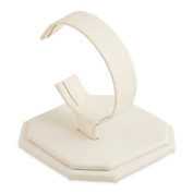White Faux Leather 8.9cm H Watch Display Jewellery Stand Holder