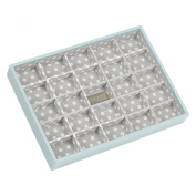 STACKERS 'CLASSIC SIZE' Duck Egg Blue 25 Section STACKER Jewellery Box with Grey Polka-Dot Lining.