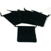 6 Pouches Black Velvet Drawstring Jewellery Bags 7.6cm