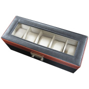Watch Valet Tray Organiser - Leatherette Storage Case Holds and Protects up to 5 Watches