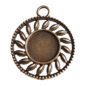 New Arrived 20pcs Antique Bronze Plated Pendant Trays-14mm Round Cabocon Settings