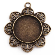 New Arrived Antique Bronze Plated Flower Pendant Trays- Fit 20mm Round Cabochon- 20pcs