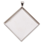 25*25mm Imitation Rhodium Plated Deep Bottom Square Copper Pendant Trays, Lead and Nickle Free,sold 20pcs Per Pkg