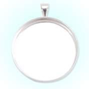 Jewellery Findings- Silver Plated Deep Bottom Copper Pendant Trays-25mm Round Cabochon Settings 20pcs/lot