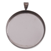 Copper Pendant Trays- Gun-black Plated Deep Bottom- Fit 25mm Round Cabocon- Sold 20pcs Per Pkg