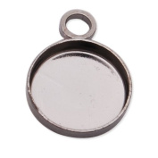 50pcs Gun-black Plated Pendant Trays,fit 8mm Round Cabochon, Lead and Nickle Free