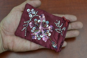 Maroon Sequin Drawstring Jewellery Gift Pouches Bags