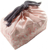 Japanese 2 Tier Bento Lunch Box Pink Leopard Print with Chopsticks and Bag