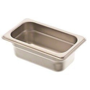 Browne Foodservice 22192 22-Gauge Stainless Steel Stack-A-Way Anti-Jam Steam Table Pan, 1/9 Size, 0.8l