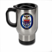 Stainless Steel Coffee Mug with U.S. Navy USS Anzio (CG 68) cruiser emblem