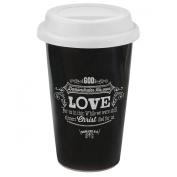 """Retro Chalk Board Collection """"Love"""" Ceramic Travel Mug - Romans 5:8"""