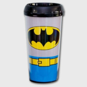 DC Comics BATMAN Uniform Costume 470ml Plastic TRAVEL MUG with Sturdy Snap Close Lid