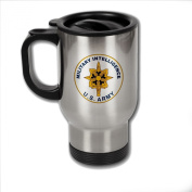 Stainless Steel Coffee Mug with U.S. Army Military Intelligence branch plaque