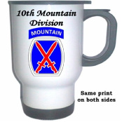 10TH MOUNTAIN DIVISION - US Army White Stainless Steel Mug