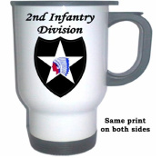 2ND INFANTRY DIVISION - US Army White Stainless Steel Mug