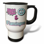 Blonde Designs Animals Love Peace And In Pastels - Love Peace And Flamingos In Blue And Purple - Travel Mug