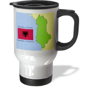 3dRose tm_44026_1 Flag and Map of Albania with Republic of Albania Printed in English and Albanian Stainless Steel Travel Mug, 410ml