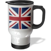 3dRose Union Jack UK Stainless Steel Travel Mug, 410ml