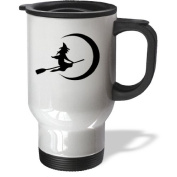 3dRose Wicked Witch on a Broom Stainless Steel Travel Mug, 410ml