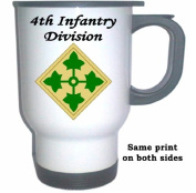 4TH INFANTRY DIVISION - US Army White Stainless Steel Mug