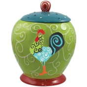 23cm Whirl of Swirls Decorated Rooster Collectible Painted Canister