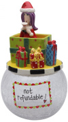 Appletree Design 62673 Lady in The Box Cookie Jar with Seasonal Design, Ceramic/Glass, 6 by 27cm by 15cm