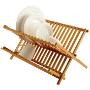 Norpro Bamboo Folding Dish Rack Ideal for Air Drying Your Dishes - Made of Naturally Anti-bacterial, Sustainable Bamboo
