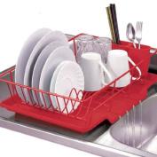3 Piece Dish Drainer Set Red