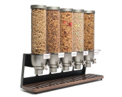 Rosseto EZ522 EZ-SERV 5 Container Table-Top Cereal Dispenser with Walnut Tray, 24.6l Capacity, 23cm Length x 80cm Width x 70cm Height
