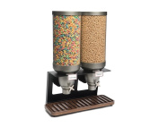 Rosseto EZ541 EZ-SERV Double Container XL Table-Top Cereal Dispenser with Walnut Tray, 26.5l Capacity, 23cm - 0.6cm Length x 50cm Width x 70cm Height