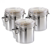 Oggi 3-Piece Stainless Steel Airtight Canisters, Mini