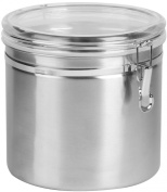 Anchor Hocking Round Clamp Top Stainless Steel Canister with Clear Lid, 4880ml, Set of 2