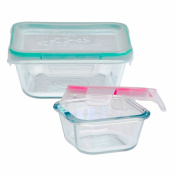 Snapware 1109350 4-Piece Nested Glass Square Value-Pack Container with Total Solution Lid