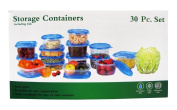 30 Piece Plastic Food Container Set - 15 Plastic Storage Containers with Blue Lids