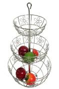 3 Tiers Chrome Fruit Basket W/daisy Design