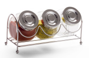 SET OF 3 CANISTERS ON RACK