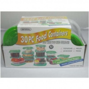 30 Piece Plastic Food Container Set - 15 Plastic Storage Containers with Green Lids