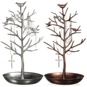 HQdeal New Antique Bronze Birds Tree Jewellery Stand Display Earring Necklace Holder Jewellery Stand Rack Storage
