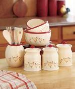 Rooster & Hen Kitchen Collection Canister Set Utensil Holder & Wooden Tools and 3 Piece Bowl Set Storage Organisation Country Chicken Counter Top Accent Kitchen Decor
