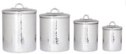 4 Pc. Stainless Steel Hammered Canister Set W/Fresh Seal Covers 4/2/1.5/0.9l