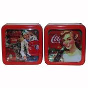 Retro Coca-Cola Galvanised Tin Box with Window Pair