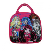 Officially Licenced Monster High Zipper Lunch Box With Water Bottle and Adjustable Strap - Lagoona Blue, Ghoulia Yelps, Clawdeen Wolf, Draculaura, and Frankie Stein