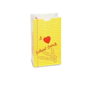 Bagcraft Papercon 300200 Dubl Wax SOS Lunch Bag, Red/Yellow/Green Ink Notepad, 28cm Length x 15cm Width x 7.6cm - 1.3cm Height