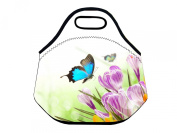 Nice Flower Buttterfly Soft Insulated Lunch box Food Bag Neoprene Gourmet Handbag lunchbox Cooler warm Pouch Tote bag For School work