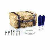 Picnic Time Champion Navy Picnic Basket with Deluxe Serving Set, Service for 2