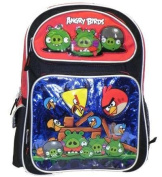 Angry Birds Large 41cm Backpack with Lunch Box - Metallic Blue with Red Top