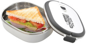 Grunwerg Pioneer Out For Lunch Stainless Steel Vacuum Fresh Sandwich Box White SLB-707W